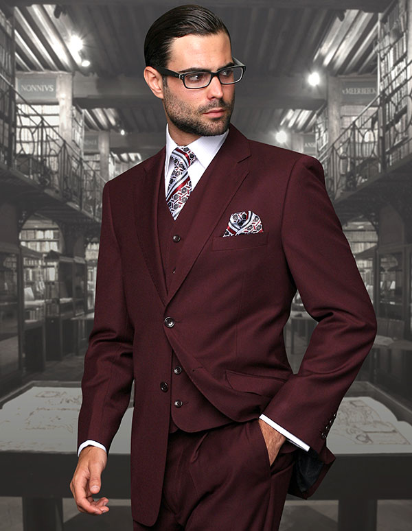 Statement-STZV-100-Burgundy - Mens Three Piece Tailored Fit Notch Lapel Suit With Flat Front Pants In Super 150s Wool