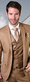 Statement-STZV-100-Caramel - Mens Three Piece Tailored Fit Notch Lapel Suit With Flat Front Pants In Super 150s Wool