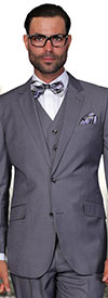 Statement-STZV-100-Charcoal - Mens Three Piece Tailored Fit Notch Lapel Suit With Flat Front Pants In Super 150s Wool