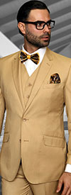 Statement-STZV-100-Chestnut - Mens Three Piece Tailored Fit Notch Lapel Suit With Flat Front Pants In Super 150s Wool