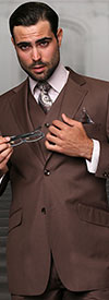 Statement-STZV-100-Coco - Mens Three Piece Tailored Fit Notch Lapel Suit With Flat Front Pants In Super 150s Wool