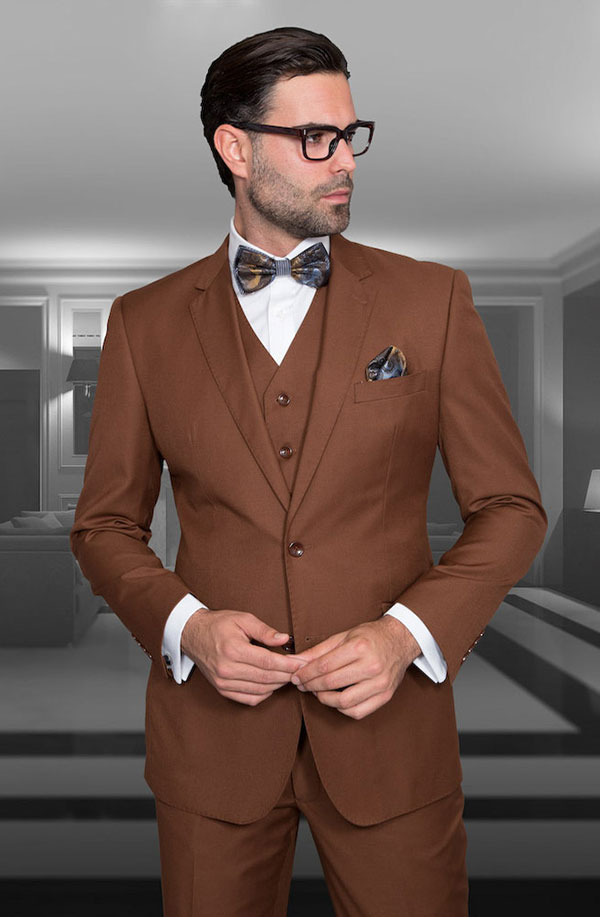 Statement-STZV-100-Copper - Mens Three Piece Tailored Fit Notch Lapel Suit With Flat Front Pants In Super 150s Wool