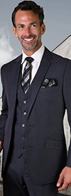 Statement-STZV-100-Denim - Mens Three Piece Tailored Fit Notch Lapel Suit With Flat Front Pants In Super 150s Wool