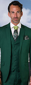 Statement-STZV-100-ForestGreen - Mens Three Piece Tailored Fit Notch Lapel Suit With Flat Front Pants In Super 150s Wool