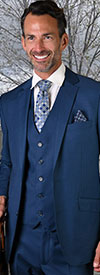 Statement-STZV-100-FrenchBlue - Mens Three Piece Tailored Fit Notch Lapel Suit With Flat Front Pants In Super 150s Wool