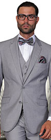 Statement-STZV-100-Grey - Mens Three Piece Tailored Fit Notch Lapel Suit With Flat Front Pants In Super 150s Wool