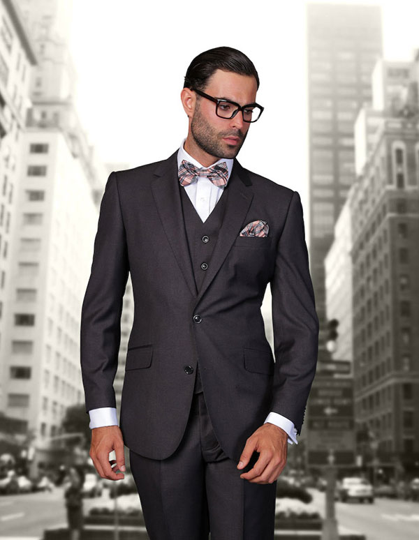 Statement-STZV-100-HCharcoal - Mens Three Piece Tailored Fit Notch Lapel Suit With Flat Front Pants In Super 150s Wool
