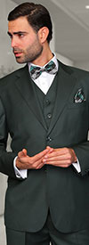 Statement-STZV-100-Hunter - Mens Three Piece Tailored Fit Notch Lapel Suit With Flat Front Pants In Super 150s Wool