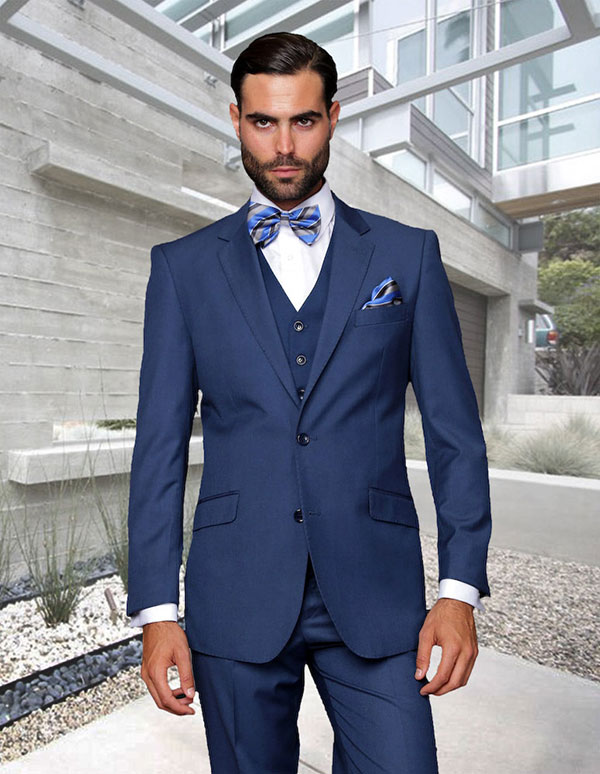 Statement-STZV-100-Indigo - Mens Three Piece Tailored Fit Notch Lapel Suit With Flat Front Pants In Super 150s Wool