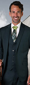 Statement-STZV-100-Jade - Mens Three Piece Tailored Fit Notch Lapel Suit With Flat Front Pants In Super 150s Wool