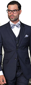 Statement-STZV-100-Navy - Mens Three Piece Tailored Fit Notch Lapel Suit With Flat Front Pants In Super 150s Wool