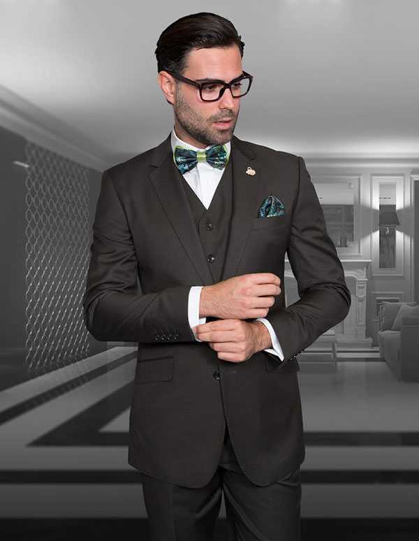 Statement-STZV-100-Olive - Mens Three Piece Tailored Fit Notch Lapel Suit With Flat Front Pants In Super 150s Wool