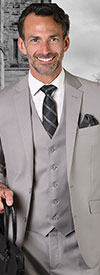 Statement-STZV-100-Platinum - Mens Three Piece Tailored Fit Notch Lapel Suit With Flat Front Pants In Super 150s Wool