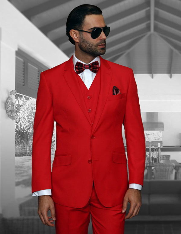 Statement-STZV-100-Red - Mens Three Piece Tailored Fit Notch Lapel Suit With Flat Front Pants In Super 150s Wool