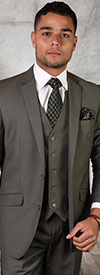 Statement-STZV-100-Sage - Mens Three Piece Tailored Fit Notch Lapel Suit With Flat Front Pants In Super 150s Wool