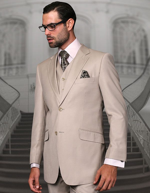 Statement-STZV-100-Sand - Mens Three Piece Tailored Fit Notch Lapel Suit With Flat Front Pants In Super 150s Wool