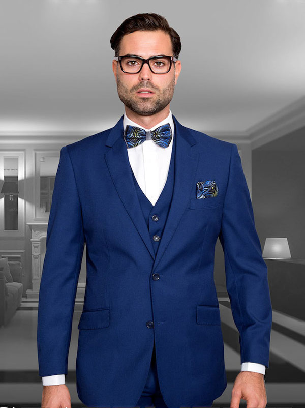Statement-STZV-100-Sapphire - Mens Three Piece Tailored Fit Notch Lapel Suit With Flat Front Pants In Super 150s Wool