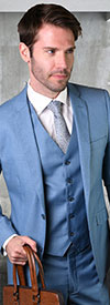 Statement-STZV-100-SteelBlue - Mens Three Piece Tailored Fit Notch Lapel Suit With Flat Front Pants In Super 150s Wool