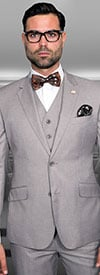 Statement-STZV-100-Tan - Mens Three Piece Tailored Fit Notch Lapel Suit With Flat Front Pants In Super 150s Wool