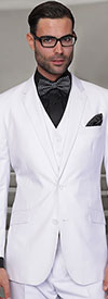 Statement-STZV-100-White - Mens Three Piece Tailored Fit Notch Lapel Suit With Flat Front Pants In Super 150s Wool
