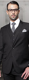Statement-TZ-100-Black - Mens Three Piece Regular Fit Notch Lapel Suit With Pleated Pants In Super 150s Wool