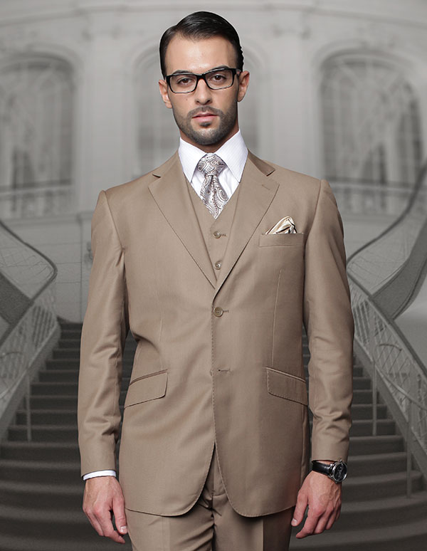 Statement-TZ-100-Bronze - Mens Three Piece Regular Fit Notch Lapel Suit With Pleated Pants In Super 150s Wool