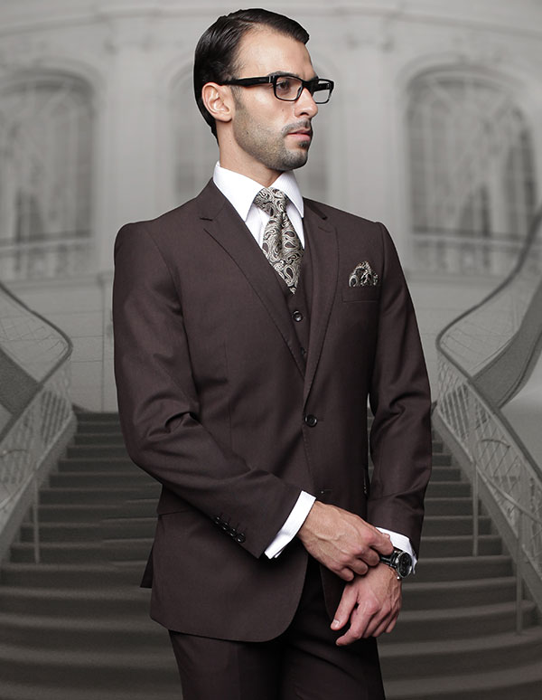 Statement-TZ-100-Brown - Mens Three Piece Regular Fit Notch Lapel Suit With Pleated Pants In Super 150s Wool
