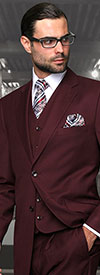 Statement-TZ-100-Burgundy - Mens Three Piece Regular Fit Notch Lapel Suit With Pleated Pants In Super 150s Wool