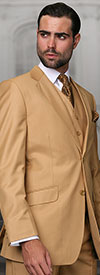 Statement-TZ-100-Camel - Mens Three Piece Regular Fit Notch Lapel Suit With Pleated Pants In Super 150s Wool