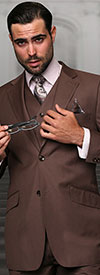 Statement-TZ-100-Coco - Mens Three Piece Regular Fit Notch Lapel Suit With Pleated Pants In Super 150s Wool