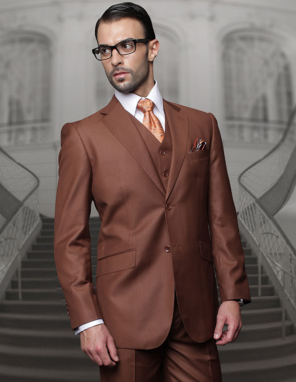 Statement-TZ-100-Copper - Mens Three Piece Regular Fit Notch Lapel Suit With Pleated Pants In Super 150s Wool