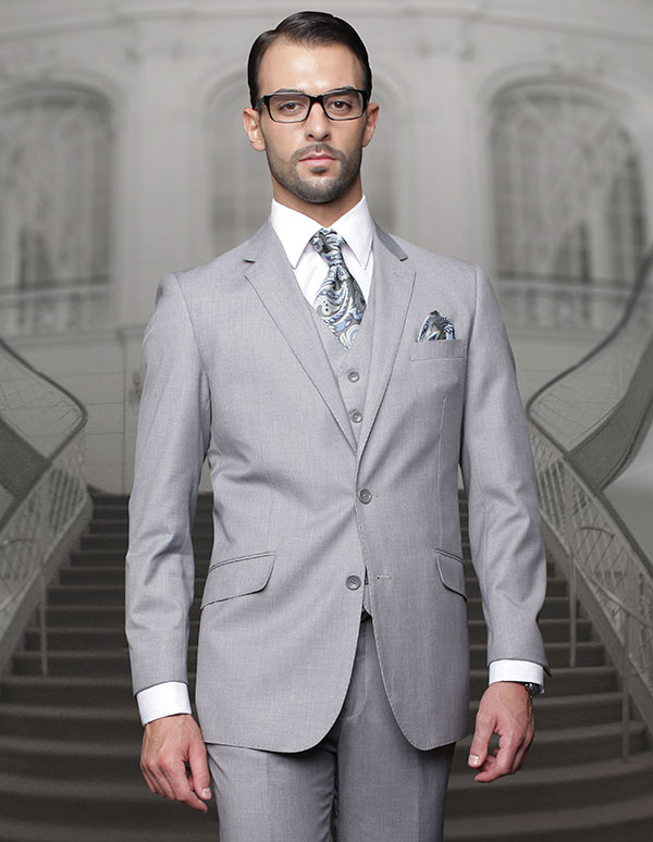 Statement-TZ-100-Grey - Mens Three Piece Regular Fit Notch Lapel Suit With Pleated Pants In Super 150s Wool