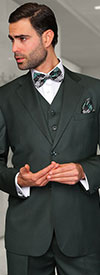 Statement-TZ-100-Hunter - Mens Three Piece Regular Fit Notch Lapel Suit With Pleated Pants In Super 150s Wool