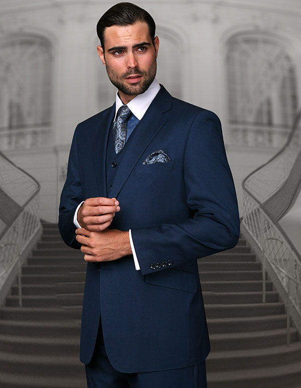 Statement-TZ-100-Indigo - Mens Three Piece Regular Fit Notch Lapel Suit With Pleated Pants In Super 150s Wool