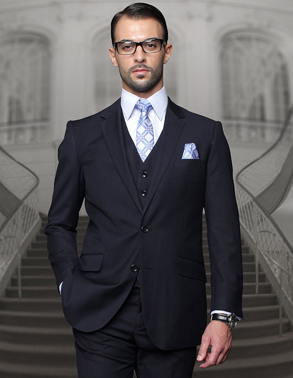 Statement-TZ-100-Navy - Mens Three Piece Regular Fit Notch Lapel Suit With Pleated Pants In Super 150s Wool
