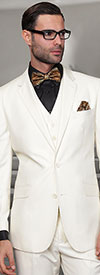 Statement-TZ-100-OffWhite - Mens Three Piece Regular Fit Notch Lapel Suit With Pleated Pants In Super 150s Wool