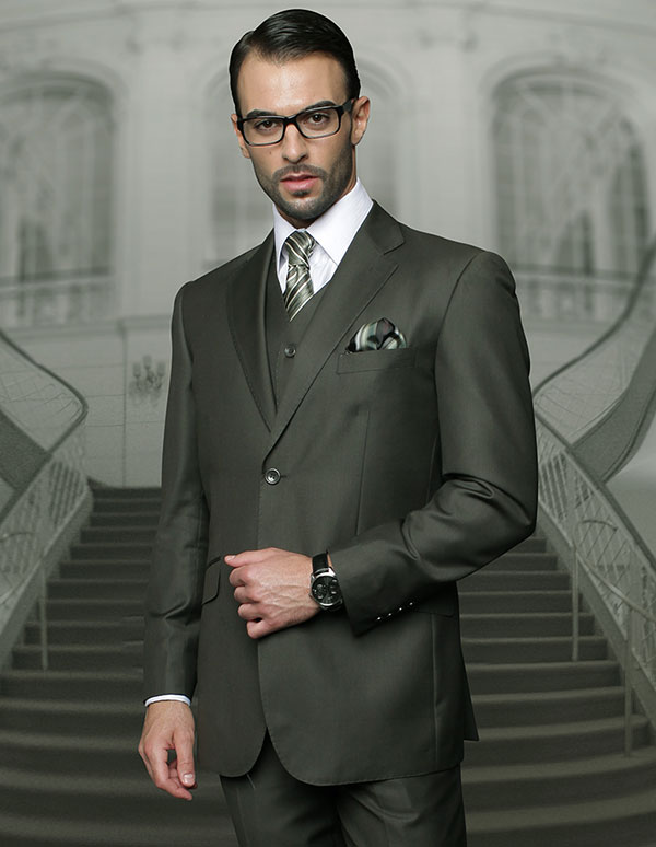 Statement-TZ-100-Olive - Mens Three Piece Regular Fit Notch Lapel Suit With Pleated Pants In Super 150s Wool