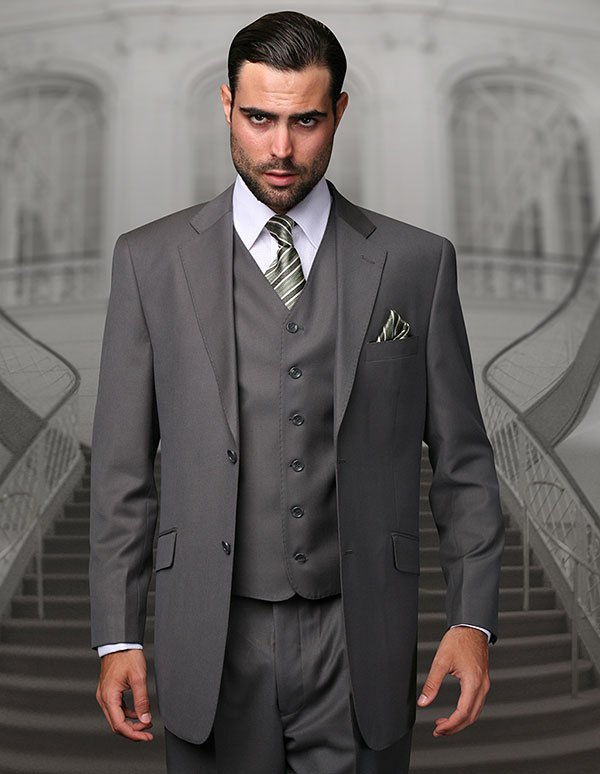 Statement-TZ-100-Oxford - Mens Three Piece Regular Fit Notch Lapel Suit With Pleated Pants In Super 150s Wool
