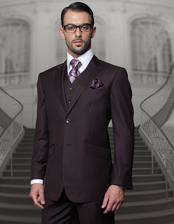 Statement-TZ-100-Plum - Mens Three Piece Regular Fit Notch Lapel Suit With Pleated Pants In Super 150s Wool