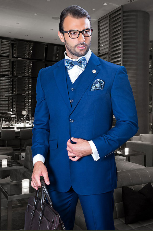 Statement-TZ-100-Sapphire - Mens Three Piece Regular Fit Notch Lapel Suit With Pleated Pants In Super 150s Wool