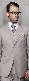 Statement-TZ-100-Tan - Mens Three Piece Regular Fit Notch Lapel Suit With Pleated Pants In Super 150s Wool