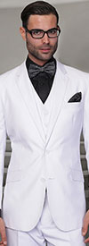 Statement-TZ-100-White - Mens Three Piece Regular Fit Notch Lapel Suit With Pleated Pants In Super 150s Wool