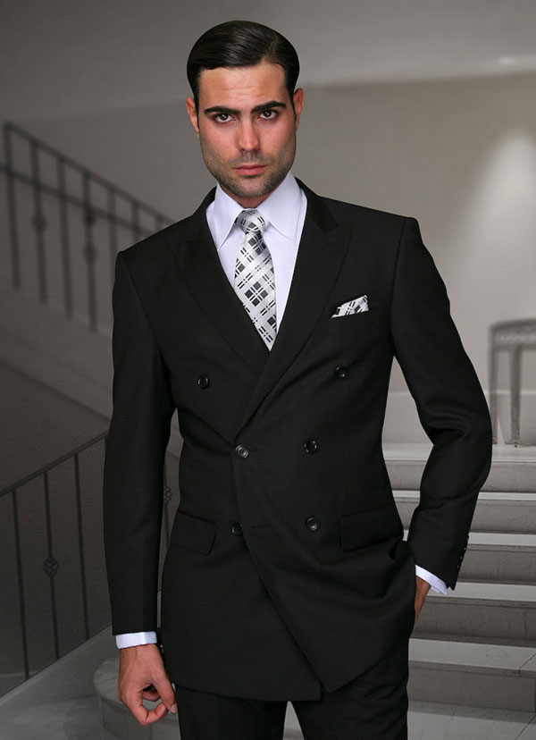 Statement-TZD-100-Black - Mens Regular Fit Peak Lapel Double Breasted Suit With Pleated Pants In Super 150s Wool