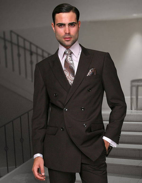 Statement-TZD-100-Brown - Mens Regular Fit Peak Lapel Double Breasted Suit With Pleated Pants In Super 150s Wool