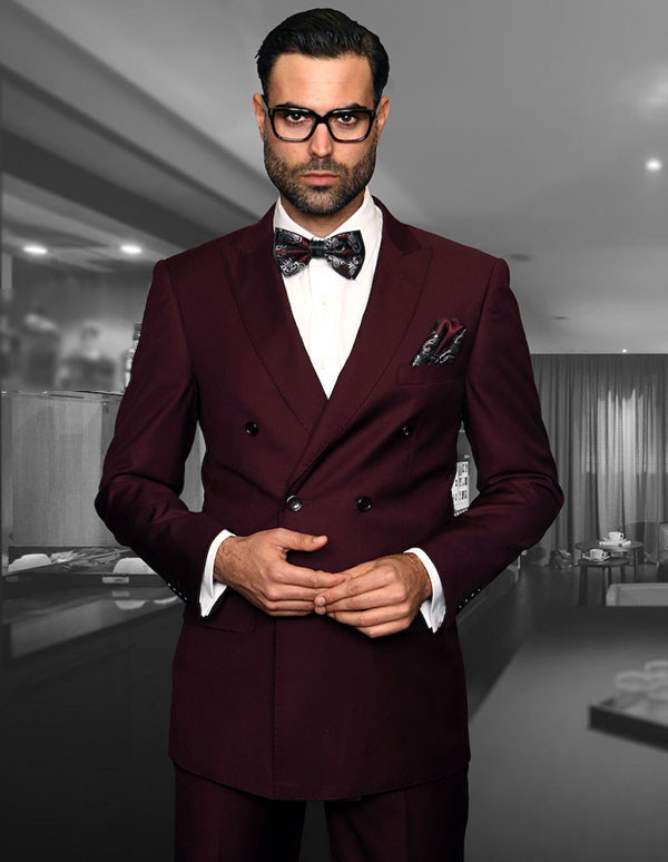 Statement-TZD-100-Burgundy - Mens Regular Fit Peak Lapel Double Breasted Suit With Pleated Pants In Super 150s Wool