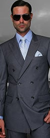 Statement-TZD-100-Charcoal - Mens Regular Fit Peak Lapel Double Breasted Suit With Pleated Pants In Super 150s Wool