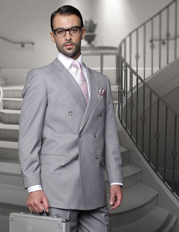 Statement-TZD-100-Grey - Mens Regular Fit Peak Lapel Double Breasted Suit With Pleated Pants In Super 150s Wool