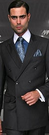 Statement-TZD-100-HCharcoal - Mens Regular Fit Peak Lapel Double Breasted Suit With Pleated Pants In Super 150s Wool