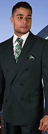 Statement-TZD-100-Hunter - Mens Regular Fit Peak Lapel Double Breasted Suit With Pleated Pants In Super 150s Wool