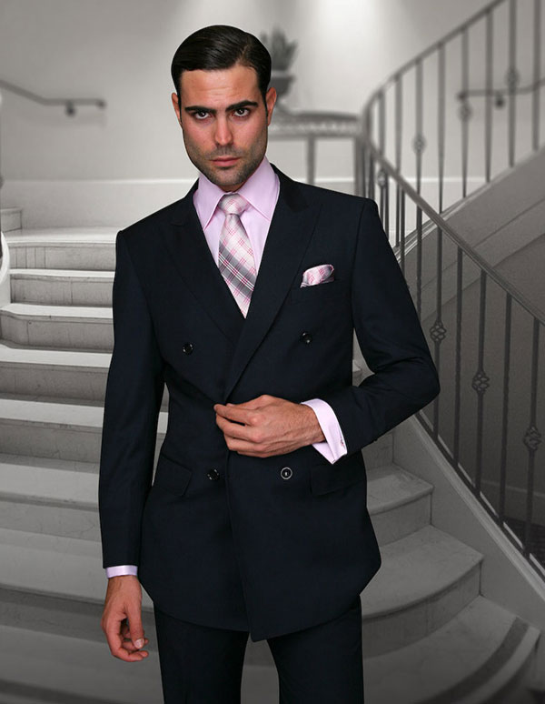 Statement-TZD-100-Navy - Mens Regular Fit Peak Lapel Double Breasted Suit With Pleated Pants In Super 150s Wool